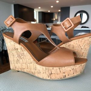 Dune London Leather T Strap Goal Cork Wedge